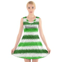 Metallic Green Glitter Stripes V-Neck Sleeveless Skater Dress