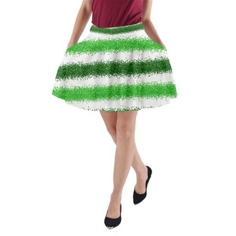 Metallic Green Glitter Stripes A-Line Pocket Skirt