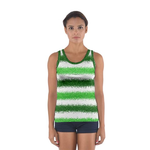 Metallic Green Glitter Stripes Women s Sport Tank Top