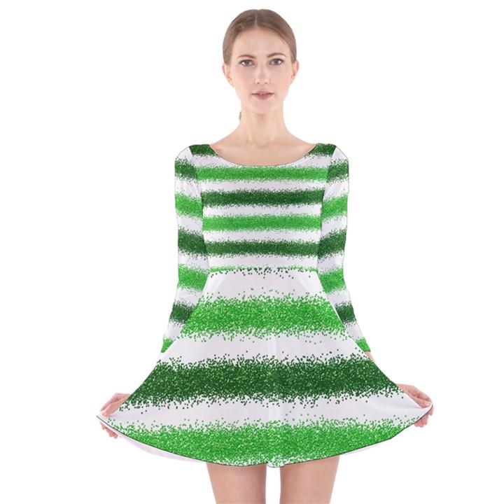 Metallic Green Glitter Stripes Long Sleeve Velvet Skater Dress