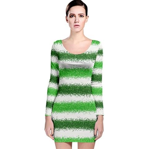 Metallic Green Glitter Stripes Long Sleeve Velvet Bodycon Dress