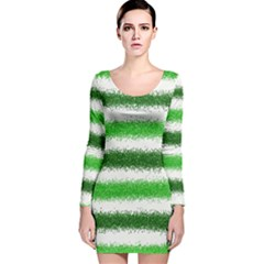 Metallic Green Glitter Stripes Long Sleeve Velvet Bodycon Dress
