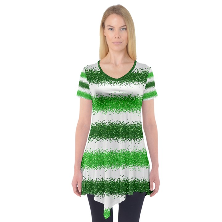 Metallic Green Glitter Stripes Short Sleeve Tunic