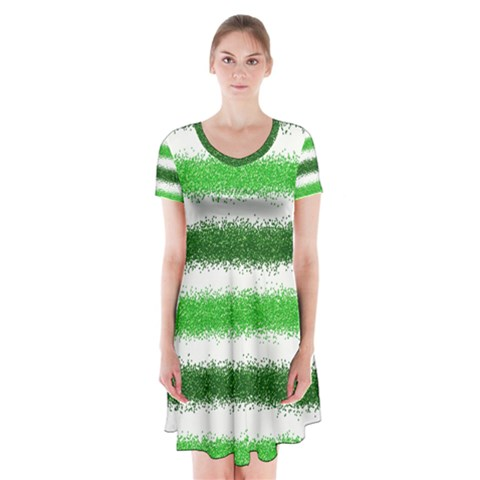 Metallic Green Glitter Stripes Short Sleeve V-neck Flare Dress