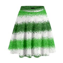 Metallic Green Glitter Stripes High Waist Skirt