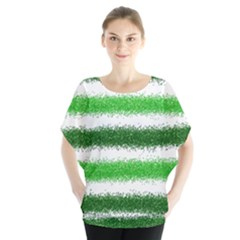 Metallic Green Glitter Stripes Blouse