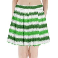 Metallic Green Glitter Stripes Pleated Mini Skirt