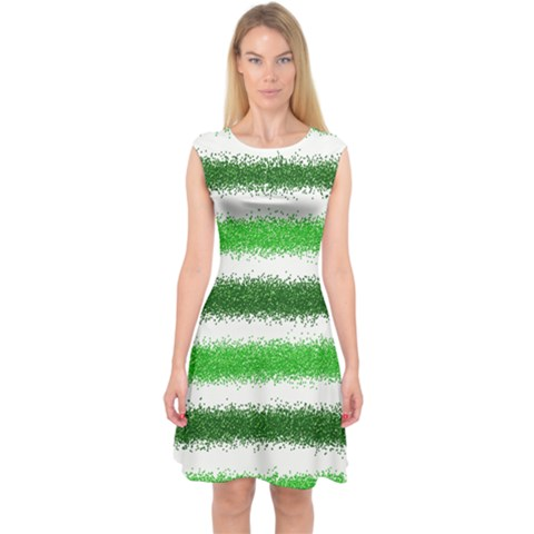 Metallic Green Glitter Stripes Capsleeve Midi Dress