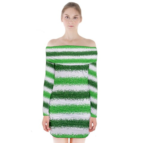 Metallic Green Glitter Stripes Long Sleeve Off Shoulder Dress