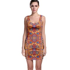 Oriental Watercolor Ornaments Kaleidoscope Mosaic Sleeveless Bodycon Dress