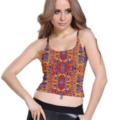 Oriental Watercolor Ornaments Kaleidoscope Mosaic Spaghetti Strap Bra Top