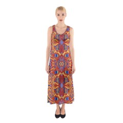 Oriental Watercolor Ornaments Kaleidoscope Mosaic Sleeveless Maxi Dress