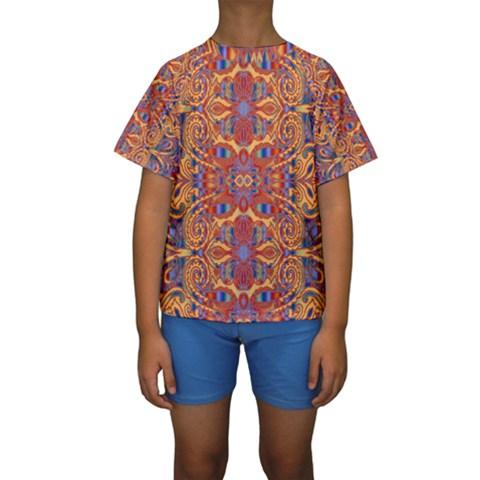 Oriental Watercolor Ornaments Kaleidoscope Mosaic Kids  Short Sleeve Swimwear
