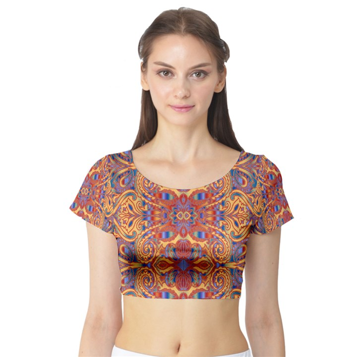 Oriental Watercolor Ornaments Kaleidoscope Mosaic Short Sleeve Crop Top (Tight Fit)