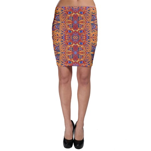 Oriental Watercolor Ornaments Kaleidoscope Mosaic Bodycon Skirt