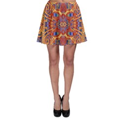 Oriental Watercolor Ornaments Kaleidoscope Mosaic Skater Skirt