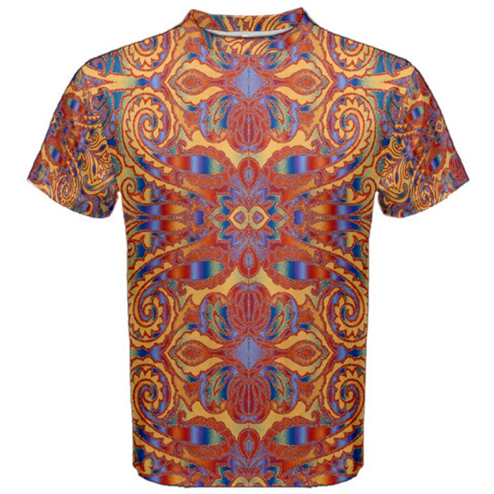 Oriental Watercolor Ornaments Kaleidoscope Mosaic Men s Cotton Tee