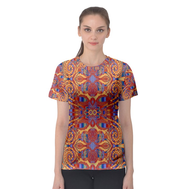 Oriental Watercolor Ornaments Kaleidoscope Mosaic Women s Sport Mesh Tee