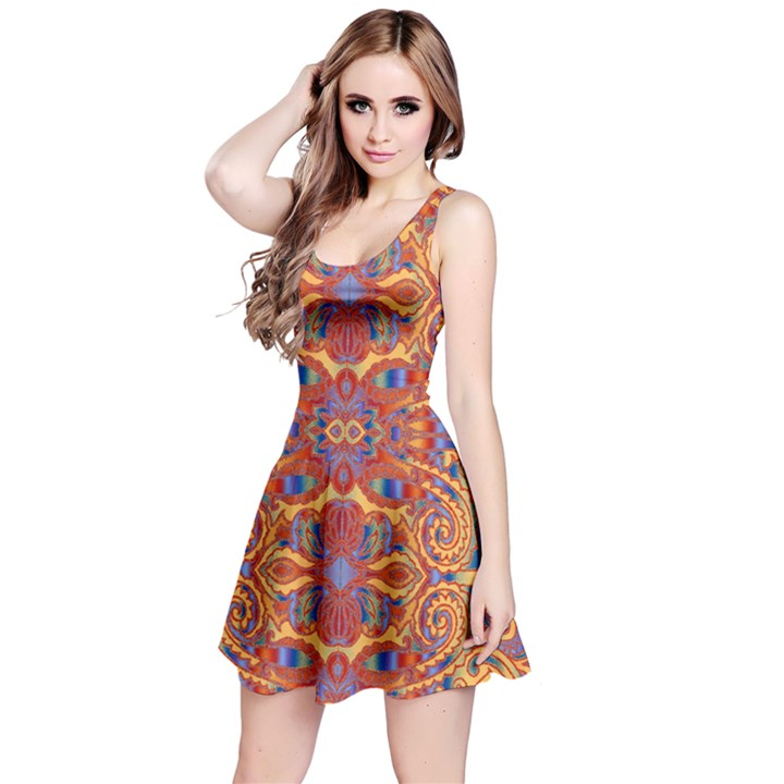 Oriental Watercolor Ornaments Kaleidoscope Mosaic Reversible Sleeveless Dress
