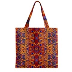Oriental Watercolor Ornaments Kaleidoscope Mosaic Grocery Tote Bag