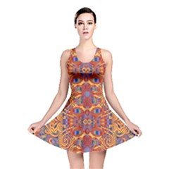 Oriental Watercolor Ornaments Kaleidoscope Mosaic Reversible Skater Dress