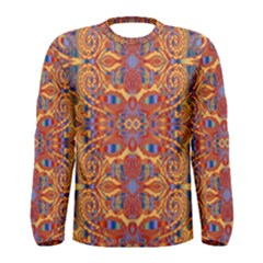 Oriental Watercolor Ornaments Kaleidoscope Mosaic Men s Long Sleeve Tee