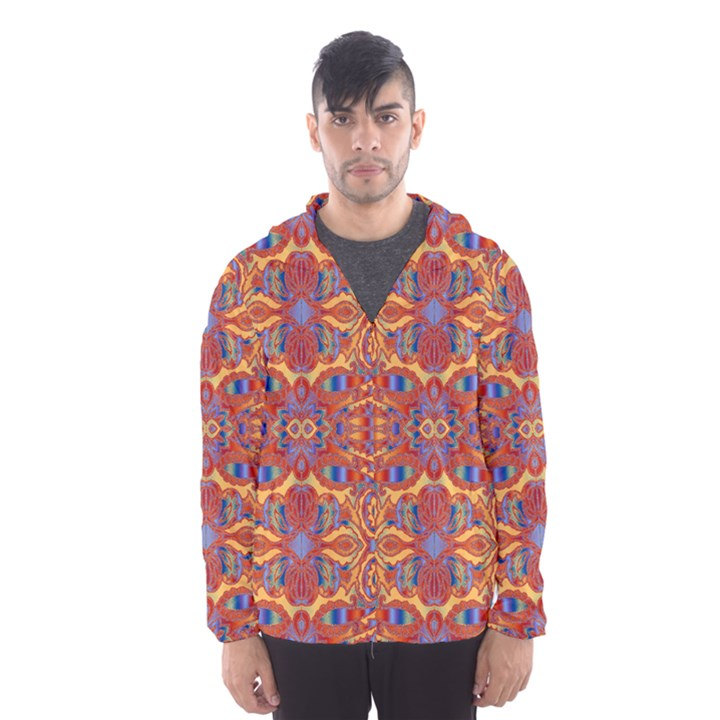 Oriental Watercolor Ornaments Kaleidoscope Mosaic Hooded Wind Breaker (Men)