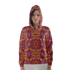 Oriental Watercolor Ornaments Kaleidoscope Mosaic Hooded Wind Breaker (Women)