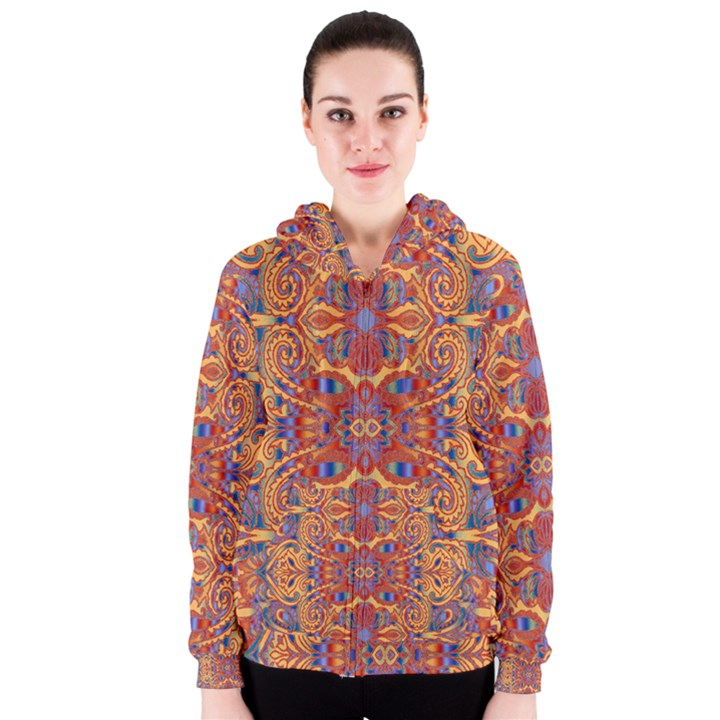 Oriental Watercolor Ornaments Kaleidoscope Mosaic Women s Zipper Hoodie