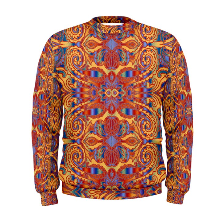 Oriental Watercolor Ornaments Kaleidoscope Mosaic Men s Sweatshirt