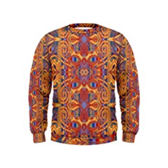 Oriental Watercolor Ornaments Kaleidoscope Mosaic Kids  Sweatshirt