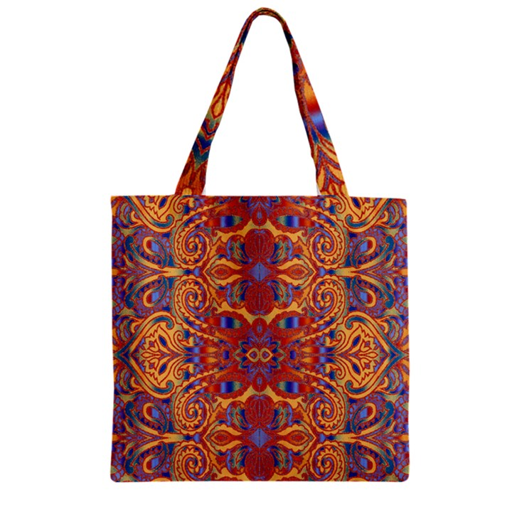 Oriental Watercolor Ornaments Kaleidoscope Mosaic Zipper Grocery Tote Bag