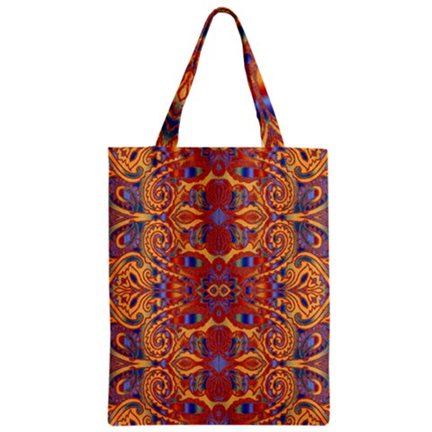 Oriental Watercolor Ornaments Kaleidoscope Mosaic Zipper Classic Tote Bag