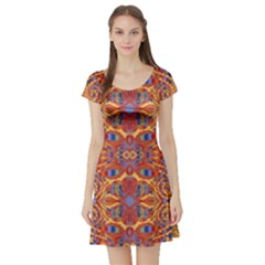 Oriental Watercolor Ornaments Kaleidoscope Mosaic Short Sleeve Skater Dress