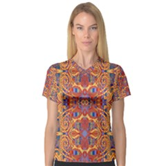 Oriental Watercolor Ornaments Kaleidoscope Mosaic Women s V Neck Sport Mesh Tee