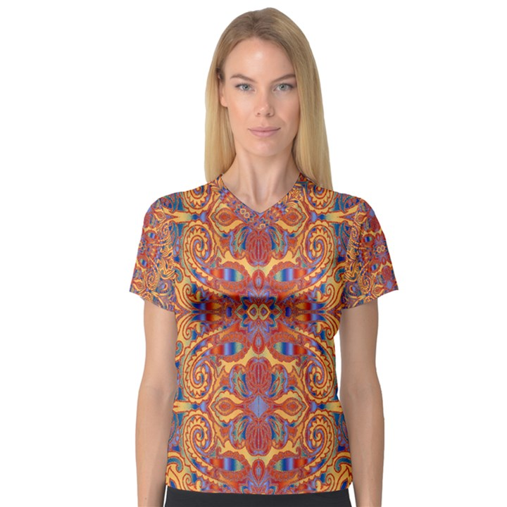 Oriental Watercolor Ornaments Kaleidoscope Mosaic Women s V-Neck Sport Mesh Tee