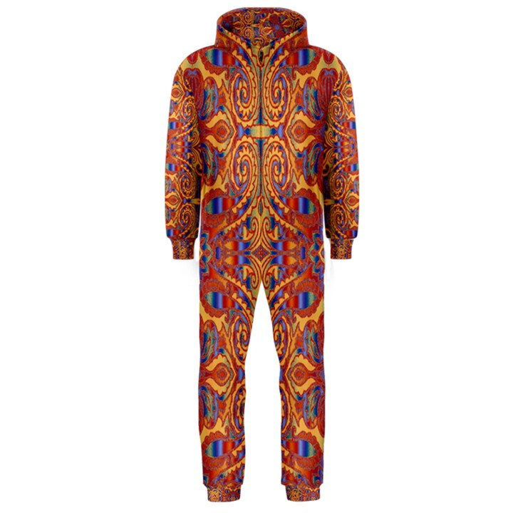 Oriental Watercolor Ornaments Kaleidoscope Mosaic Hooded Jumpsuit (Men)
