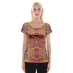 Oriental Watercolor Ornaments Kaleidoscope Mosaic Women s Cap Sleeve Top