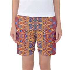 Oriental Watercolor Ornaments Kaleidoscope Mosaic Women s Basketball Shorts