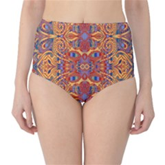 Oriental Watercolor Ornaments Kaleidoscope Mosaic High-Waist Bikini Bottoms