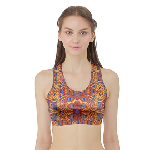 Oriental Watercolor Ornaments Kaleidoscope Mosaic Sports Bra with Border