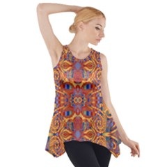 Oriental Watercolor Ornaments Kaleidoscope Mosaic Side Drop Tank Tunic