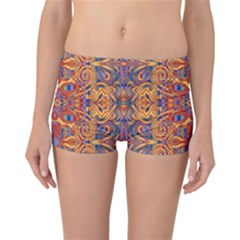 Oriental Watercolor Ornaments Kaleidoscope Mosaic Reversible Boyleg Bikini Bottoms