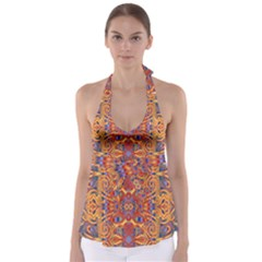 Oriental Watercolor Ornaments Kaleidoscope Mosaic Babydoll Tankini Top