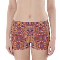 Oriental Watercolor Ornaments Kaleidoscope Mosaic Boyleg Bikini Wrap Bottoms