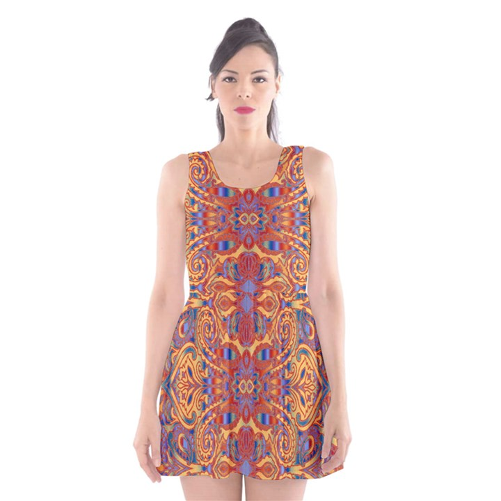 Oriental Watercolor Ornaments Kaleidoscope Mosaic Scoop Neck Skater Dress