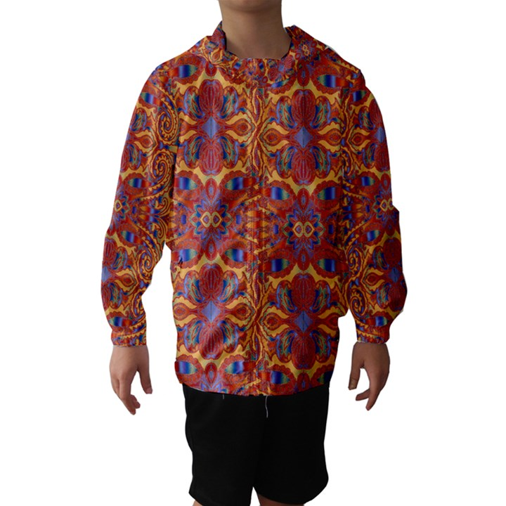 Oriental Watercolor Ornaments Kaleidoscope Mosaic Hooded Wind Breaker (Kids)