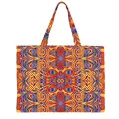 Oriental Watercolor Ornaments Kaleidoscope Mosaic Zipper Large Tote Bag