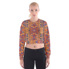 Oriental Watercolor Ornaments Kaleidoscope Mosaic Women s Cropped Sweatshirt