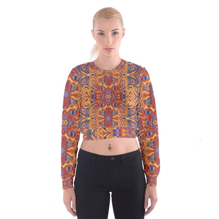 Oriental Watercolor Ornaments Kaleidoscope Mosaic Women s Cropped Sweatshirt